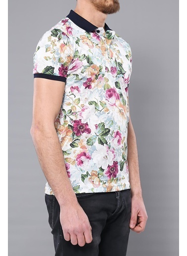 Wessi Polo Yaka Çiçek Desenli T-Shirt Ekru